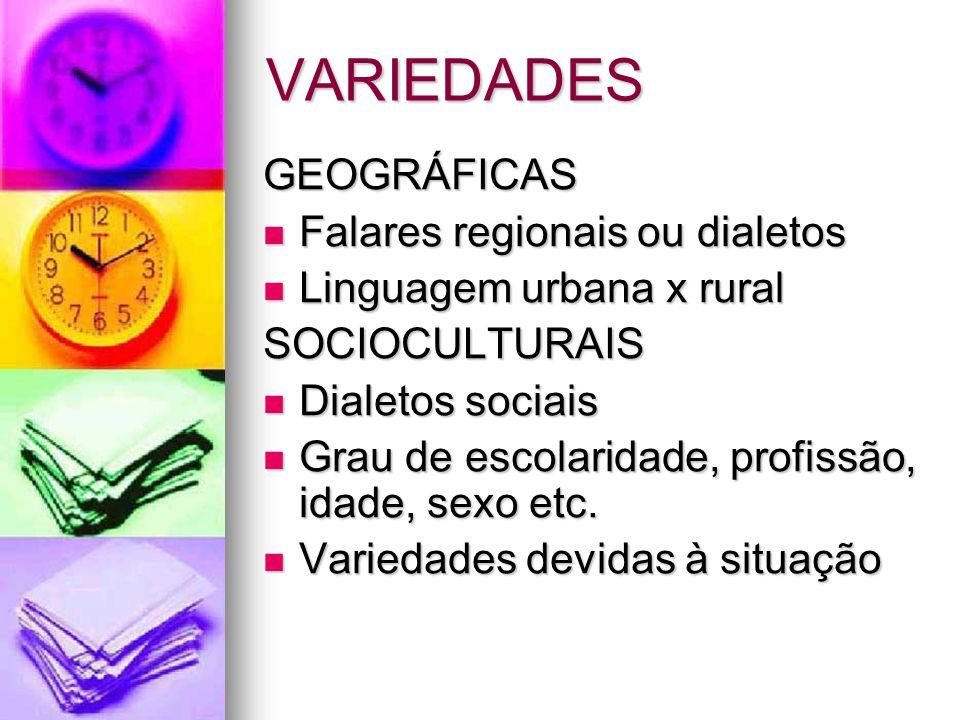 VARIEDADES GEOGRÁFICAS Falares regionais ou dialetos Falares regionais ou dialetos Linguagem urbana x rural Linguagem urbana x ruralSOCIOCULTURAIS Dia