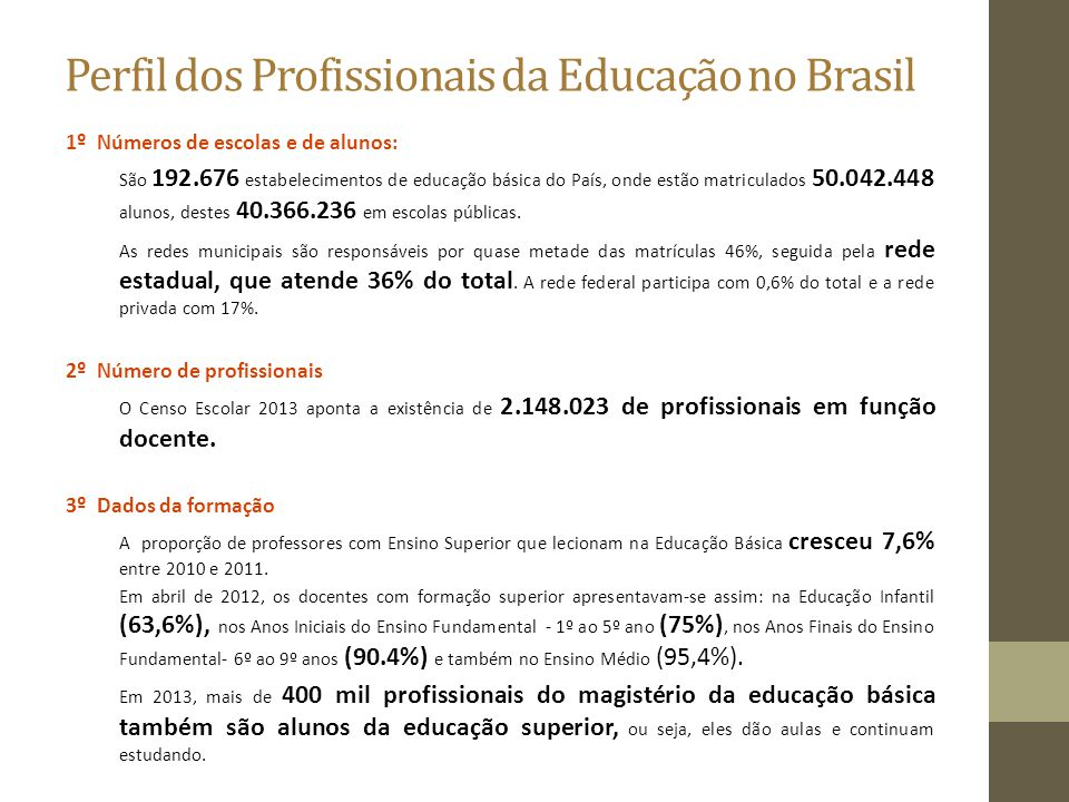 Perfil dos Profissionais da Educação no Brasil 1º Números de escolas e de alunos: São 192.676 estabelecimentos de educação básica do País, onde estão
