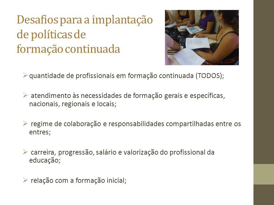 Desafios para a implantação de políticas de formação continuada  quantidade de profissionais em formação continuada (TODOS);  atendimento às necessi