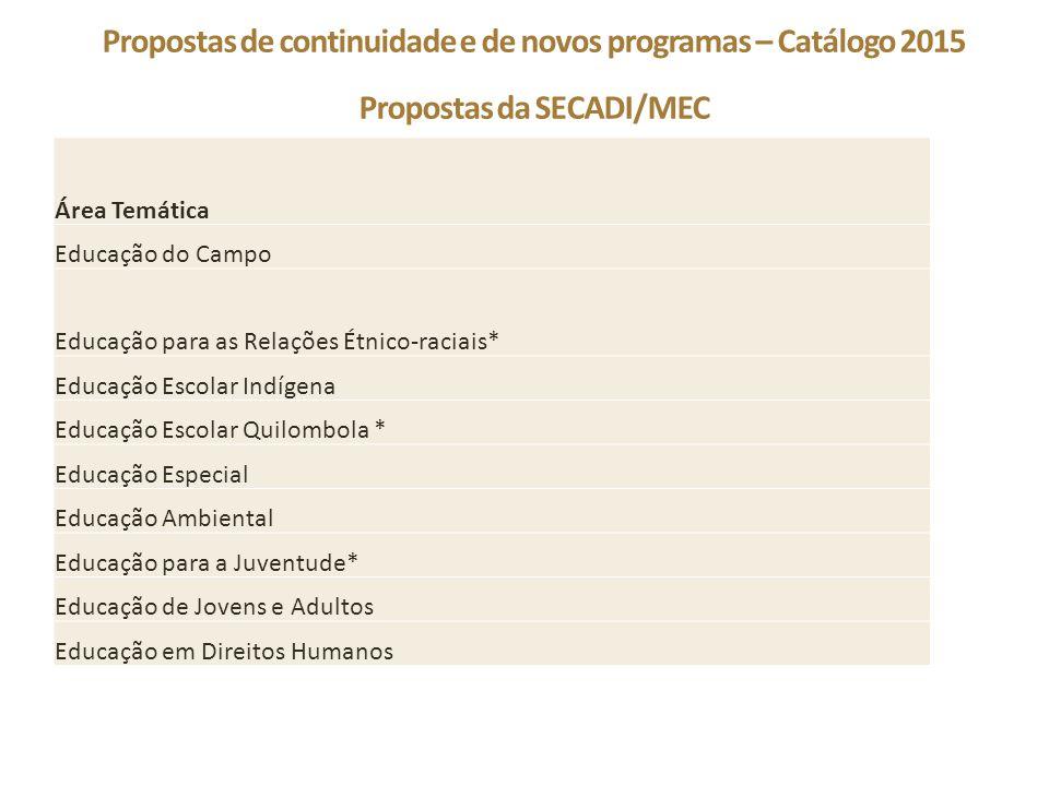 Propostas de continuidade e de novos programas – Catálogo 2015 Propostas da SECADI/MEC Área Temática Educação do Campo Educação para as Relações Étnic