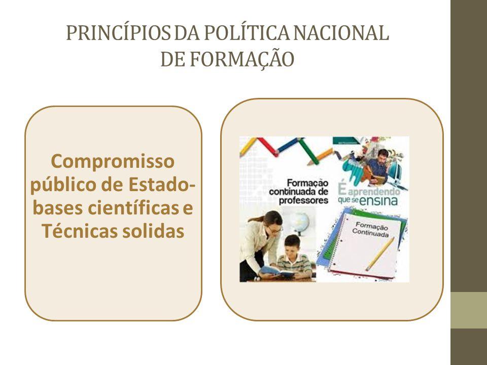 PRINCÍPIOS DA POLÍTICA NACIONAL DE FORMAÇÃO Compromisso público de Estado- bases científicas e Técnicas solidas