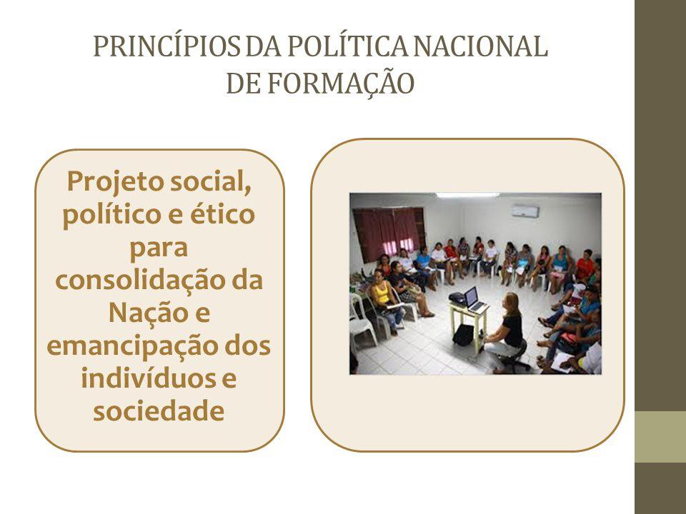 PRINCÍPIOS DA POLÍTICA NACIONAL DE FORMAÇÃO Projeto social, político e ético para consolidação da Nação e emancipação dos indivíduos e sociedade