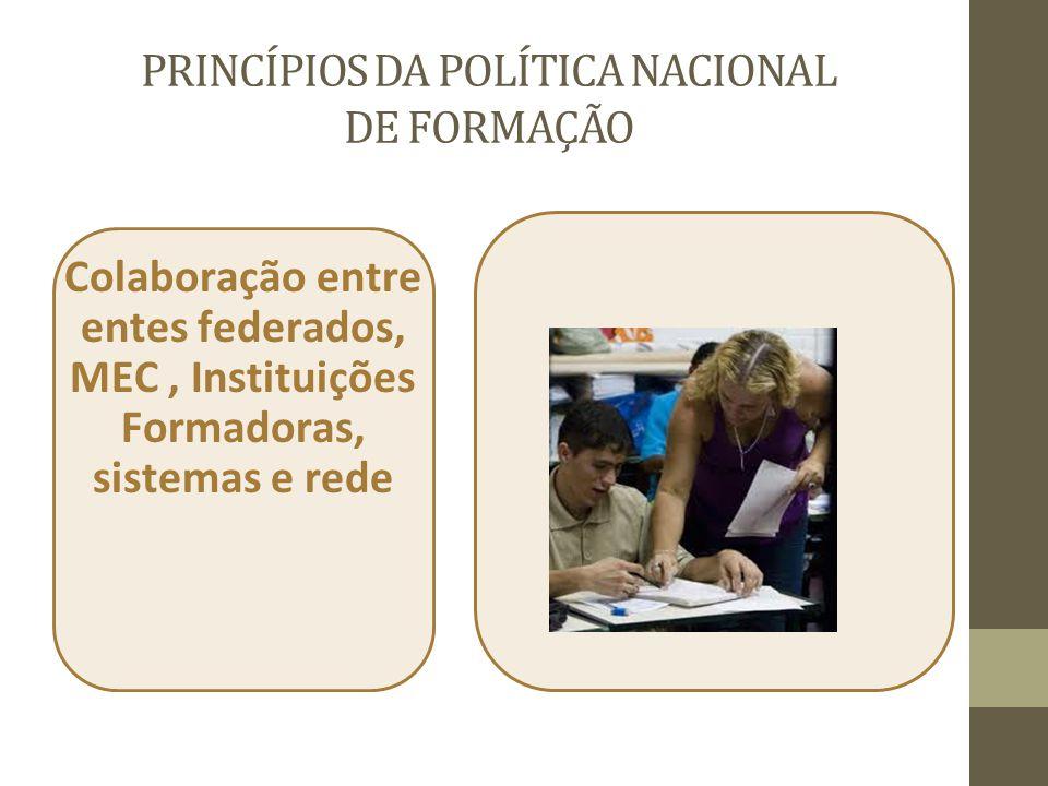 PRINCÍPIOS DA POLÍTICA NACIONAL DE FORMAÇÃO Colaboração entre entes federados, MEC, Instituições Formadoras, sistemas e rede
