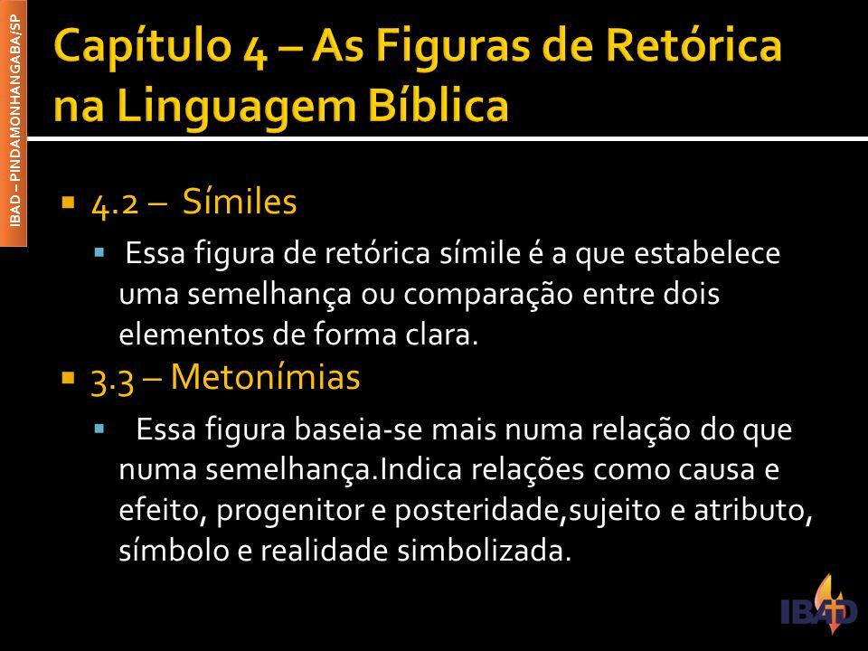 IBAD – PINDAMONHANGABA/SP  4.2 – Símiles  Essa figura de retórica símile é a que estabelece uma semelhança ou comparação entre dois elementos de forma clara.