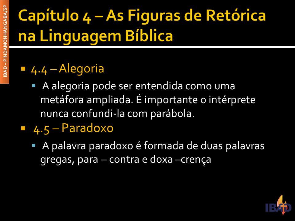 IBAD – PINDAMONHANGABA/SP  4.4 – Alegoria  A alegoria pode ser entendida como uma metáfora ampliada.