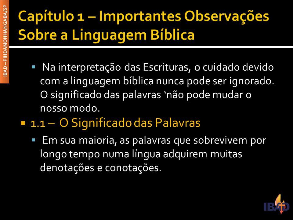 IBAD – PINDAMONHANGABA/SP  Na interpretação das Escrituras, o cuidado devido com a linguagem bíblica nunca pode ser ignorado.
