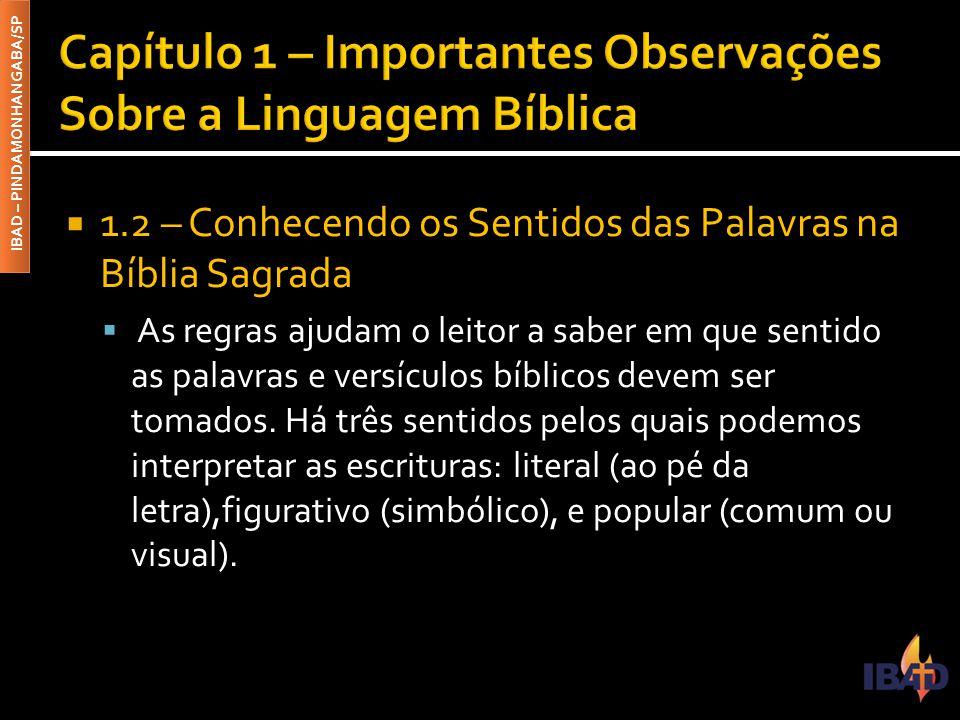IBAD – PINDAMONHANGABA/SP  1.2 – Conhecendo os Sentidos das Palavras na Bíblia Sagrada  As regras ajudam o leitor a saber em que sentido as palavras e versículos bíblicos devem ser tomados.