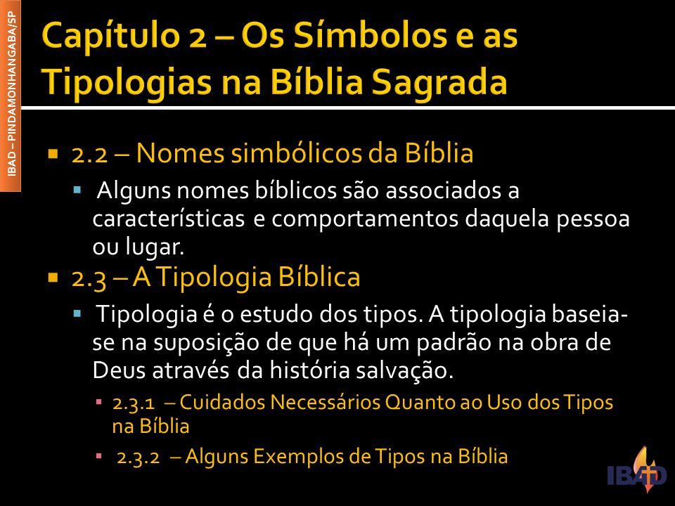 IBAD – PINDAMONHANGABA/SP  2.2 – Nomes simbólicos da Bíblia  Alguns nomes bíblicos são associados a características e comportamentos daquela pessoa ou lugar.