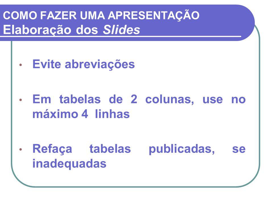 COMO FAZER UMA APRESENTAÇÃO Elaboração dos Slides Evite abreviações Em tabelas de 2 colunas, use no máximo 4 linhas Refaça tabelas publicadas, se inad