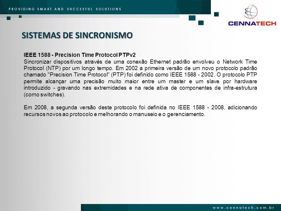 IEEE 1588 - Precision Time Protocol PTPv2 Sincronizar dispositivos através de uma conexão Ethernet padrão envolveu o Network Time Protocol (NTP) por u