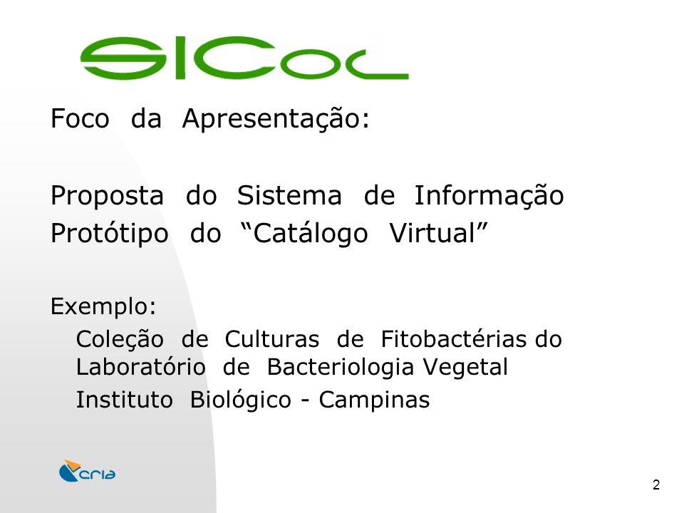 2 Foco da Apresentação: Proposta do Sistema de Informação Protótipo do Catálogo Virtual Exemplo: Coleção de Culturas de Fitobactérias do Laboratório de Bacteriologia Vegetal Instituto Biológico - Campinas
