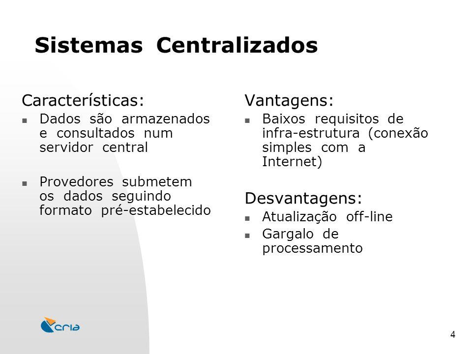 4 Sistemas Centralizados Vantagens: Baixos requisitos de infra-estrutura (conexão simples com a Internet) Desvantagens: Atualização off-line Gargalo de processamento Características: Dados são armazenados e consultados num servidor central Provedores submetem os dados seguindo formato pré-estabelecido