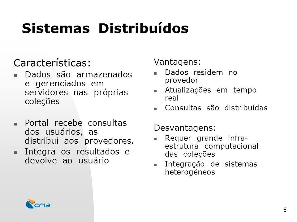 6 Sistemas Distribuídos Vantagens: Dados residem no provedor Atualizações em tempo real Consultas são distribuídas Desvantagens: Requer grande infra- estrutura computacional das coleções Integração de sistemas heterogêneos Características: Dados são armazenados e gerenciados em servidores nas próprias coleções Portal recebe consultas dos usuários, as distribui aos provedores.