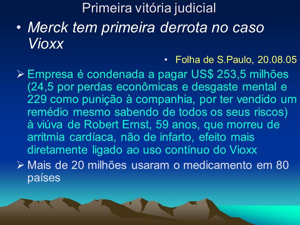 Primeira vitória judicial Merck tem primeira derrota no caso Vioxx Folha de S.Paulo, 20.08.05  Empresa é condenada a pagar US$ 253,5 milhões (24,5 po