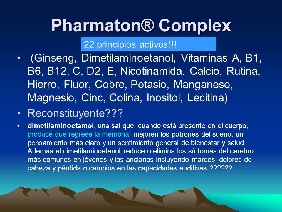 Pharmaton® Complex (Ginseng, Dimetilaminoetanol, Vitaminas A, B1, B6, B12, C, D2, E, Nicotinamida, Calcio, Rutina, Hierro, Fluor, Cobre, Potasio, Mang