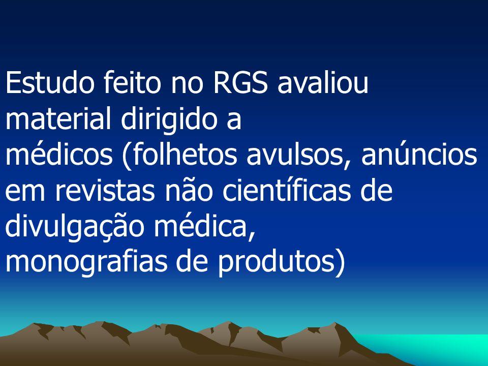 Estudo feito no RGS avaliou material dirigido a médicos (folhetos avulsos, anúncios em revistas não científicas de divulgação médica, monografias de p