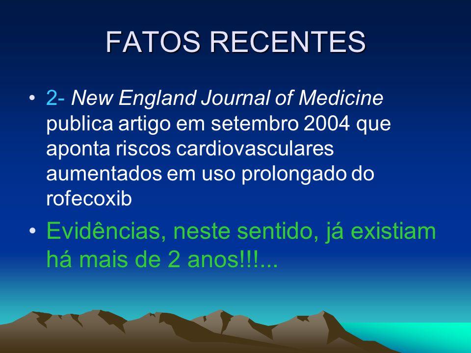 FATOS RECENTES 2- New England Journal of Medicine publica artigo em setembro 2004 que aponta riscos cardiovasculares aumentados em uso prolongado do r