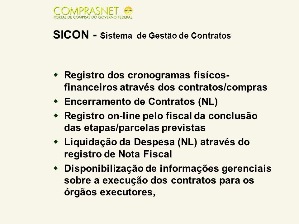  Registro dos cronogramas fisícos- financeiros através dos contratos/compras  Encerramento de Contratos (NL)  Registro on-line pelo fiscal da concl
