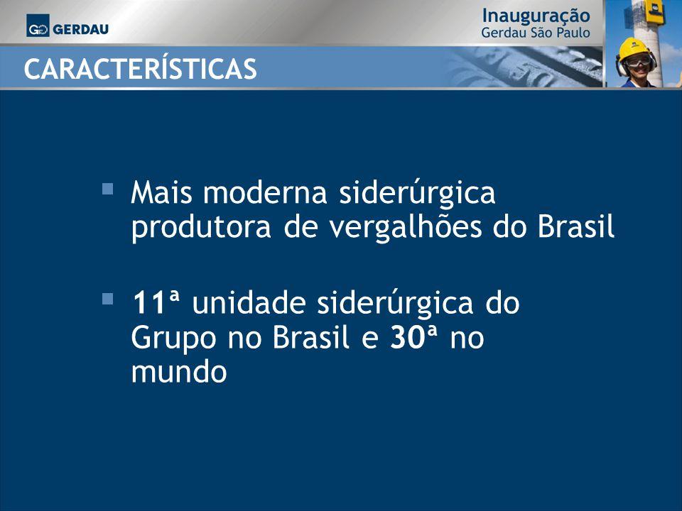 CARACTERÍSTICAS Mais moderna siderúrgica produtora de vergalhões do Brasil 11ª unidade siderúrgica do Grupo no Brasil e 30ª no mundo