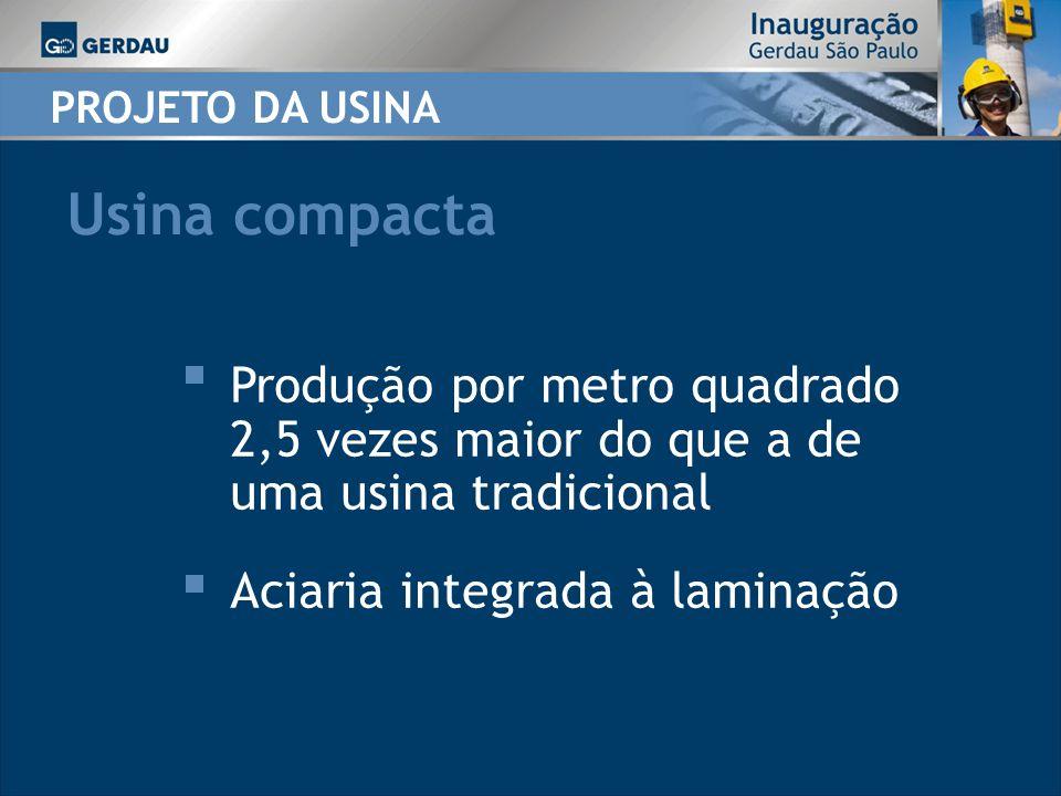 PROJETO DA USINA Usina compacta Produção por metro quadrado 2,5 vezes maior do que a de uma usina tradicional Aciaria integrada à laminação