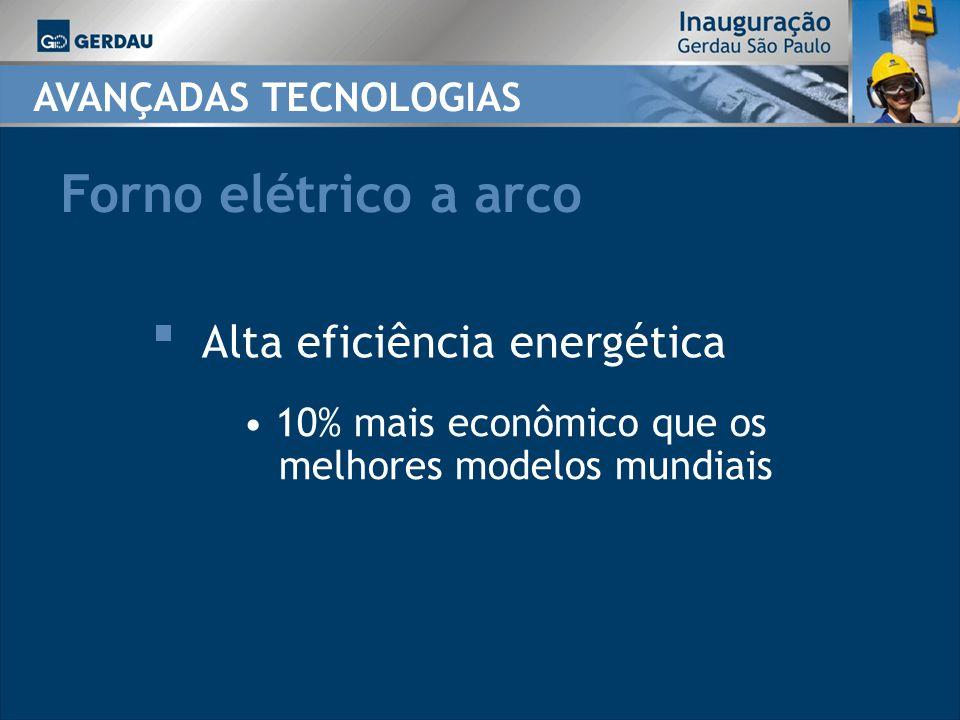 AVANÇADAS TECNOLOGIAS Forno elétrico a arco 10% mais econômico que os melhores modelos mundiais Alta eficiência energética
