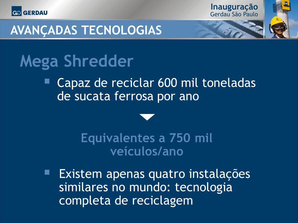 Mega Shredder Equivalentes a 750 mil veículos/ano Capaz de reciclar 600 mil toneladas de sucata ferrosa por ano Existem apenas quatro instalações similares no mundo: tecnologia completa de reciclagem AVANÇADAS TECNOLOGIAS