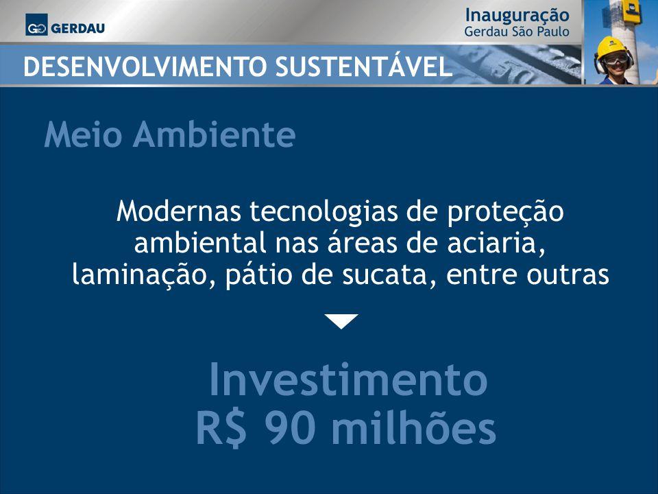 Investimento R$ 90 milhões DESENVOLVIMENTO SUSTENTÁVEL Meio Ambiente Modernas tecnologias de proteção ambiental nas áreas de aciaria, laminação, pátio de sucata, entre outras