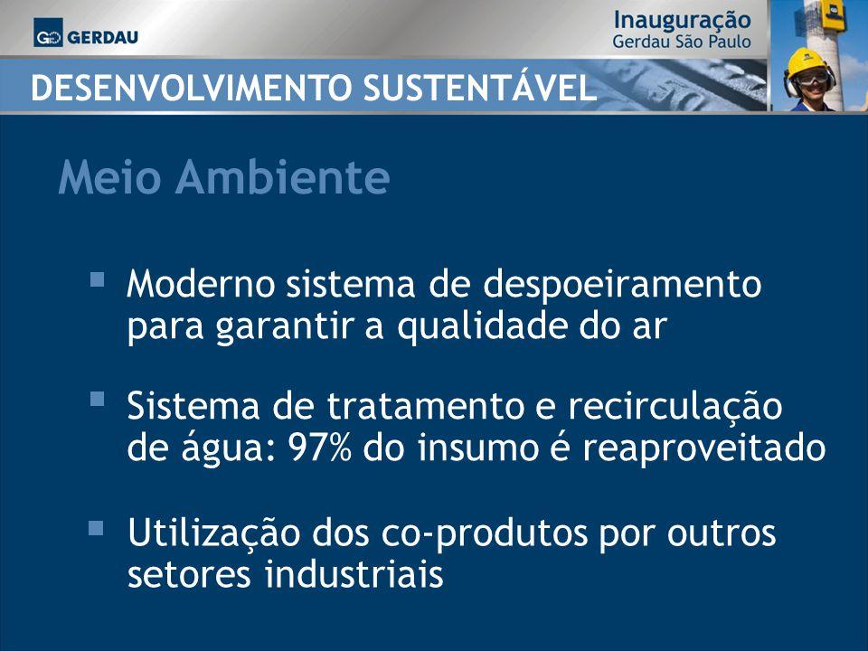DESENVOLVIMENTO SUSTENTÁVEL Moderno sistema de despoeiramento para garantir a qualidade do ar Sistema de tratamento e recirculação de água: 97% do insumo é reaproveitado Utilização dos co-produtos por outros setores industriais Meio Ambiente