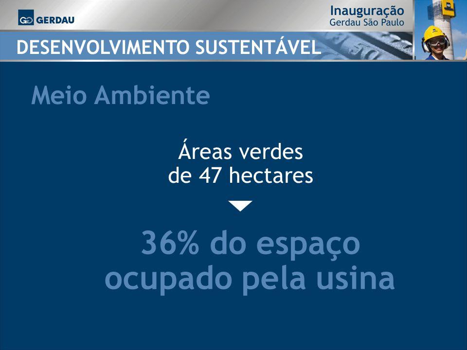 DESENVOLVIMENTO SUSTENTÁVEL Meio Ambiente 36% do espaço ocupado pela usina Áreas verdes de 47 hectares