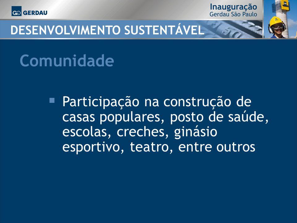 DESENVOLVIMENTO SUSTENTÁVEL Participação na construção de casas populares, posto de saúde, escolas, creches, ginásio esportivo, teatro, entre outros Comunidade