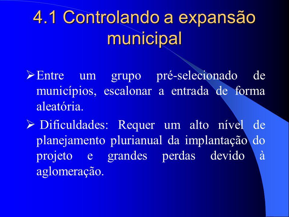  Entre um grupo pré-selecionado de municípios, escalonar a entrada de forma aleatória.