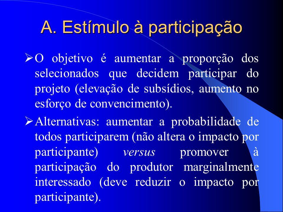 A. Estímulo à participação  O objetivo é aumentar a proporção dos selecionados que decidem participar do projeto (elevação de subsídios, aumento no e