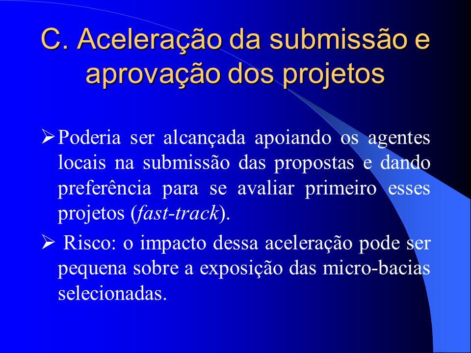C. Aceleração da submissão e aprovação dos projetos  Poderia ser alcançada apoiando os agentes locais na submissão das propostas e dando preferência