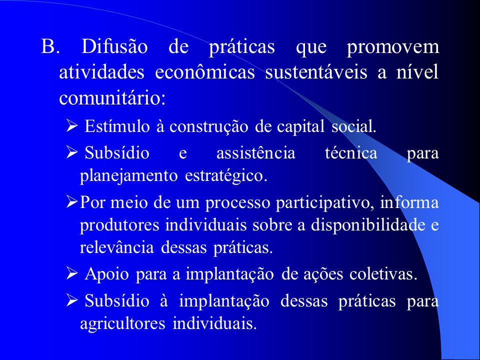 B. Difusão de práticas que promovem atividades econômicas sustentáveis a nível comunitário:  Estímulo à construção de capital social.  Subsídio e as