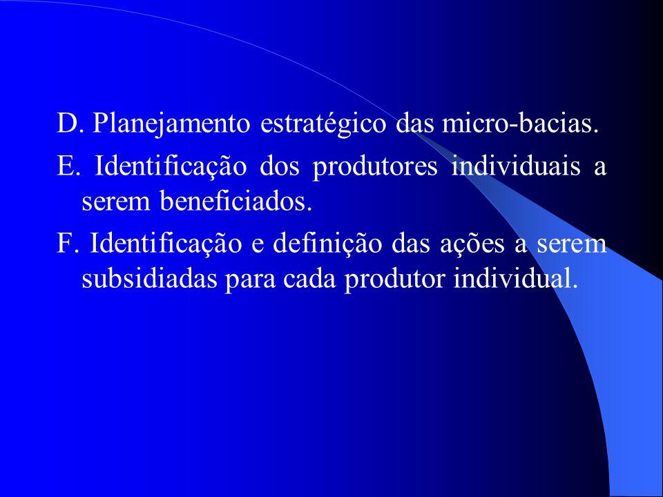D. Planejamento estratégico das micro-bacias. E.