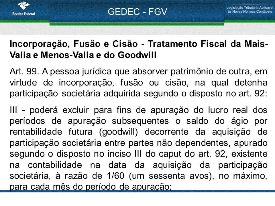 GEDEC - FGV Incorporação, Fusão e Cisão - Tratamento Fiscal da Mais- Valia e Menos-Valia e do Goodwill Art. 99. A pessoa jurídica que absorver patrimô