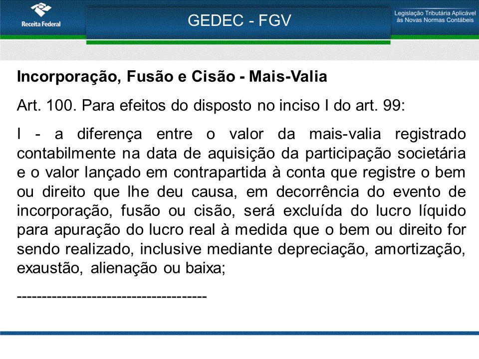 GEDEC - FGV Incorporação, Fusão e Cisão - Mais-Valia Art. 100. Para efeitos do disposto no inciso I do art. 99: I - a diferença entre o valor da mais-