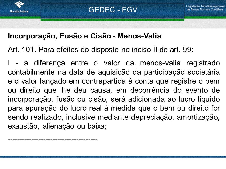 GEDEC - FGV Incorporação, Fusão e Cisão - Menos-Valia Art. 101. Para efeitos do disposto no inciso II do art. 99: I - a diferença entre o valor da men