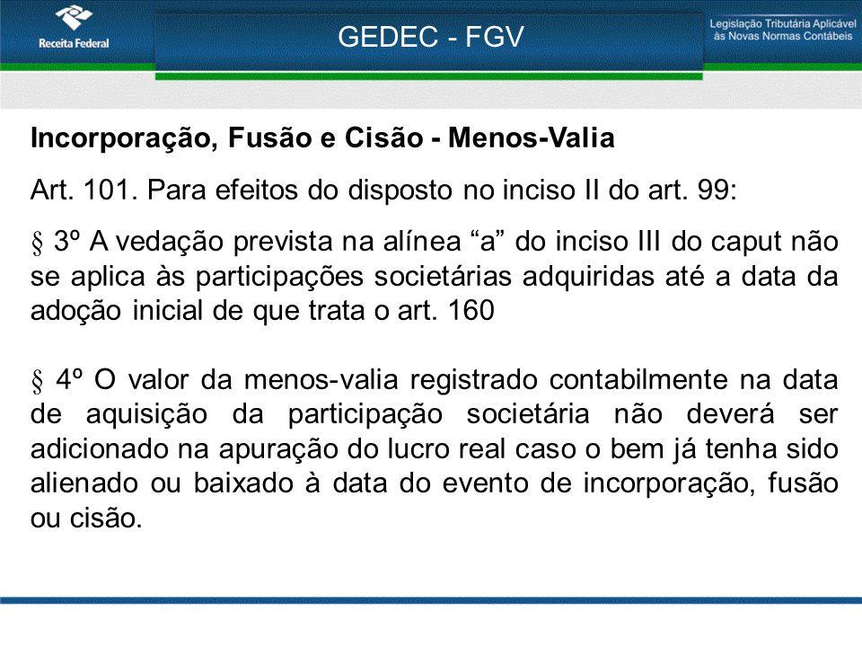 """GEDEC - FGV Incorporação, Fusão e Cisão - Menos-Valia Art. 101. Para efeitos do disposto no inciso II do art. 99: § 3º A vedação prevista na alínea """"a"""