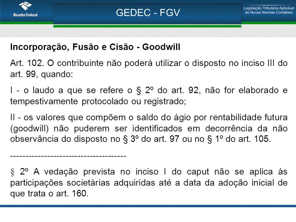 GEDEC - FGV Incorporação, Fusão e Cisão - Goodwill Art. 102. O contribuinte não poderá utilizar o disposto no inciso III do art. 99, quando: I - o lau