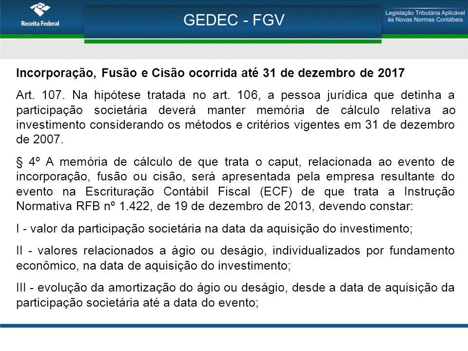 GEDEC - FGV Incorporação, Fusão e Cisão ocorrida até 31 de dezembro de 2017 Art. 107. Na hipótese tratada no art. 106, a pessoa jurídica que detinha a
