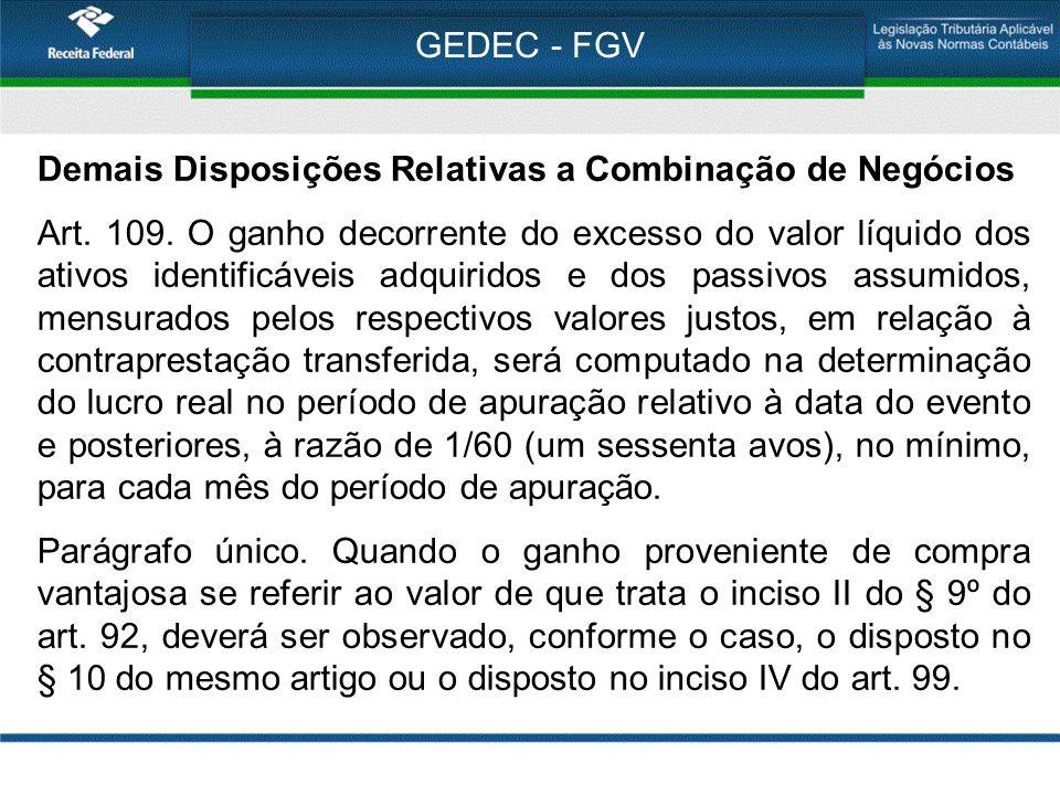 GEDEC - FGV Demais Disposições Relativas a Combinação de Negócios Art. 109. O ganho decorrente do excesso do valor líquido dos ativos identificáveis a
