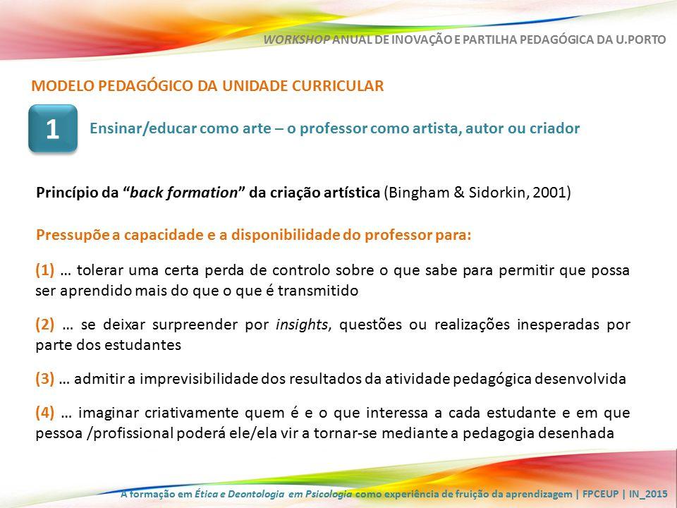 A formação em Ética e Deontologia em Psicologia como experiência de fruição da aprendizagem | FPCEUP | IN_2015 WORKSHOP ANUAL DE INOVAÇÃO E PARTILHA PEDAGÓGICA DA U.PORTO MODELO PEDAGÓGICO DA UNIDADE CURRICULAR (5) … modelar/transformar o outro exercendo sobre ele o seu poder mas permitindo que os estudantes possam desenvolver-se e afirmar-se na sua autonomia e individualidade (6) … criar acontecimentos pedagógicos que favoreçam a expressão idiossincrática dos estudantes – o contexto de ensino como polyphonic space (Bingham & Sidorkin, 2001) (7) … questionar, desafiar, argumentar de forma sensível às condições de poder dos estudantes (8) … garantir que o projeto pedagógico, enquanto projeto criativo e de autor se reveste de uma preocupação responsável com os seus efeitos no desenvolvimento dos estudantes Pressupõe a capacidade e a disponibilidade do professor para: Ensinar/educar como arte – o professor como artista, autor ou criador 1 1