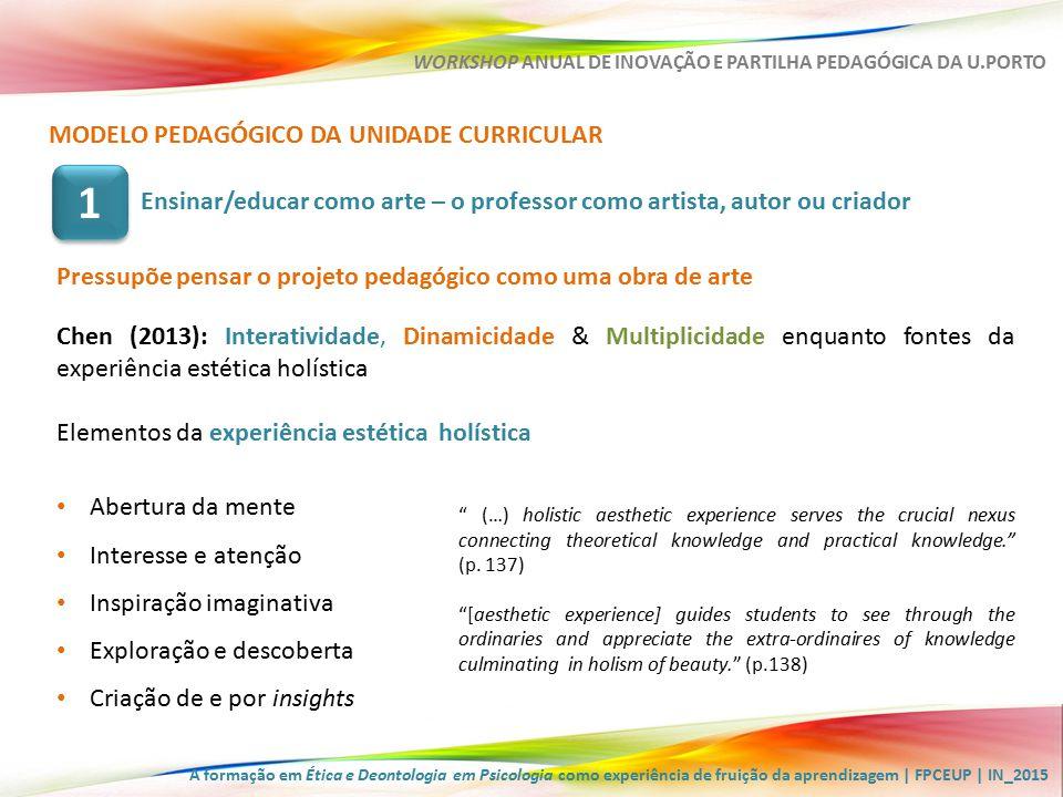 A formação em Ética e Deontologia em Psicologia como experiência de fruição da aprendizagem | FPCEUP | IN_2015 WORKSHOP ANUAL DE INOVAÇÃO E PARTILHA PEDAGÓGICA DA U.PORTO Interatividade, Dinamicidade & Multiplicidade em EDP (1)Reflexão escrita acerca da relação pessoal com a Psicologia e com a Ética; (2)Exercícios de significação de imagens ; (3)Participação em palestra e discussão/integração dos temas mais significativos; (4)Abordagem dialogada dos conteúdos programáticos; (5)Debates em sala de aula (planeados ou espontâneos); (6)Fóruns de discussão assíncrona na plataforma Moodle; (7)Conceção e implementação de um projeto de campanha no âmbito da Integridade Académica; (8)Construção, exploração e discussão de problemas/dilemas da intervenção e da investigação psicológicas e do saber estar e comportar-se em meio académico; (9)Recriação imaginada de situações e cenários hipotéticos de ação de base narrativa… MODELO PEDAGÓGICO DA UNIDADE CURRICULAR Pressupõe pensar o projeto pedagógico como uma obra de arte Ensinar/educar como arte – o professor como artista, autor ou criador 1 1 #16 O que mais me agradou nestas aulas nem foram os debates de que gosto tanto, mas sim a necessidade de termos de pensar por nós.
