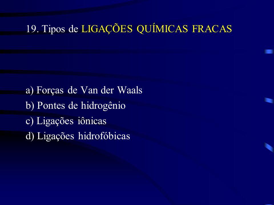 19. Tipos de LIGAÇÕES QUÍMICAS FRACAS a) Forças de Van der Waals b) Pontes de hidrogênio c) Ligações iônicas d) Ligações hidrofóbicas