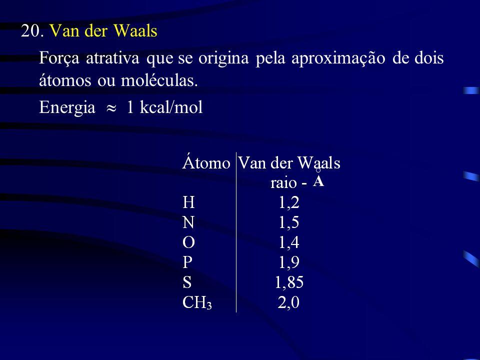 20.Van der Waals Força atrativa que se origina pela aproximação de dois átomos ou moléculas.