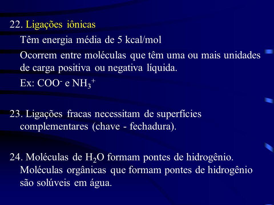 22. Ligações iônicas Têm energia média de 5 kcal/mol Ocorrem entre moléculas que têm uma ou mais unidades de carga positiva ou negativa líquida. Ex: C