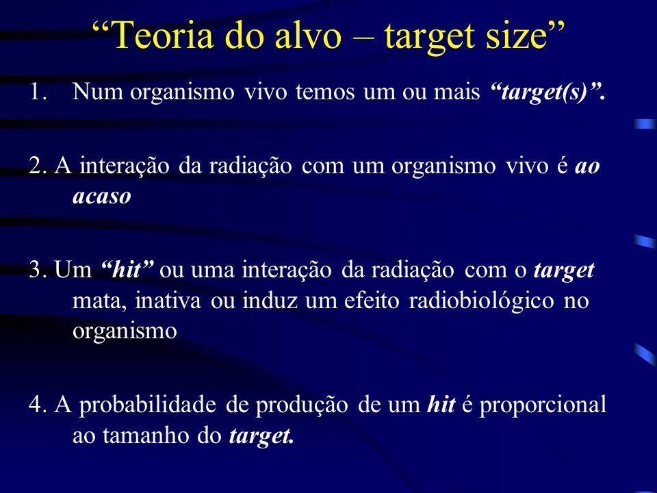 Teoria do alvo – target size 1.Num organismo vivo temos um ou mais target(s) .