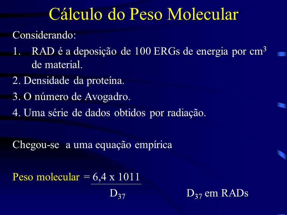 Cálculo do Peso Molecular Considerando: 1.RAD é a deposição de 100 ERGs de energia por cm 3 de material.