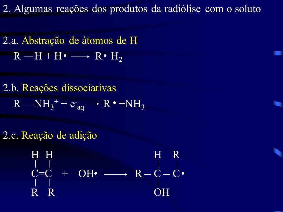 2.Algumas reações dos produtos da radiólise com o soluto 2.a.